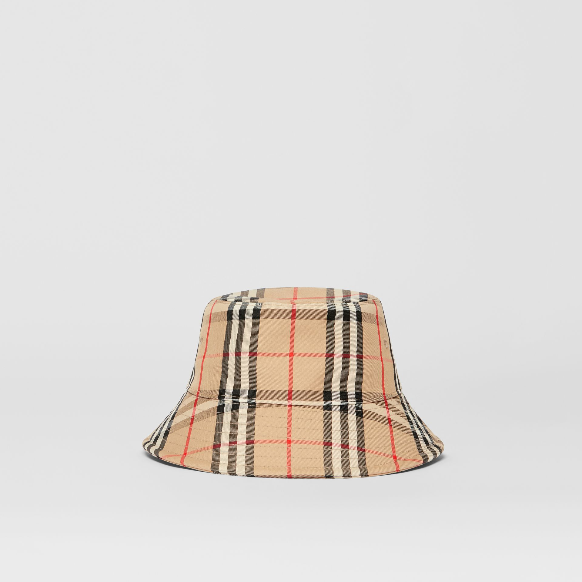 Vintage Check Cotton Blend Bucket Hat in Archive Beige | Burberry Australia - gallery image 6
