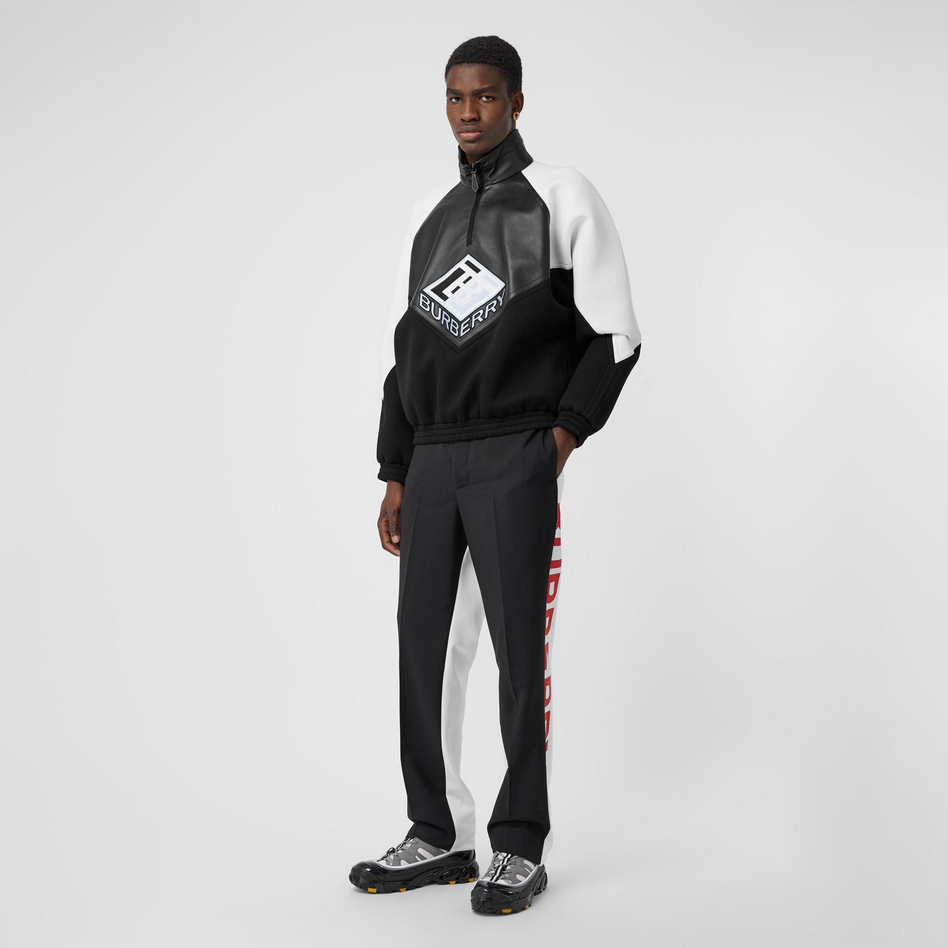 Logo Graphic Lambskin Funnel Neck Track Top in Black - Men | Burberry Hong Kong S.A.R - gallery image 0