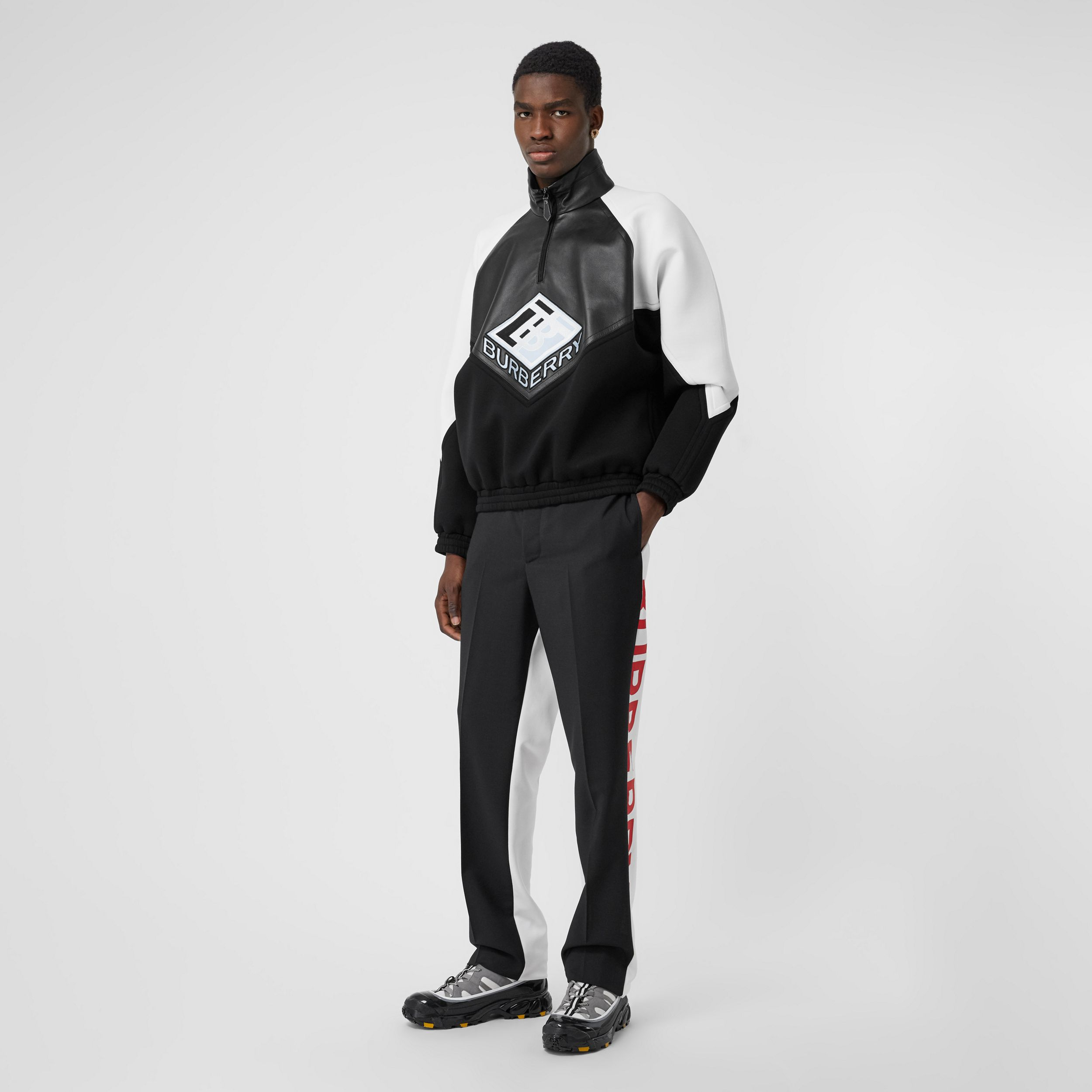 Logo Graphic Lambskin Funnel Neck Track Top in Black - Men | Burberry - 1