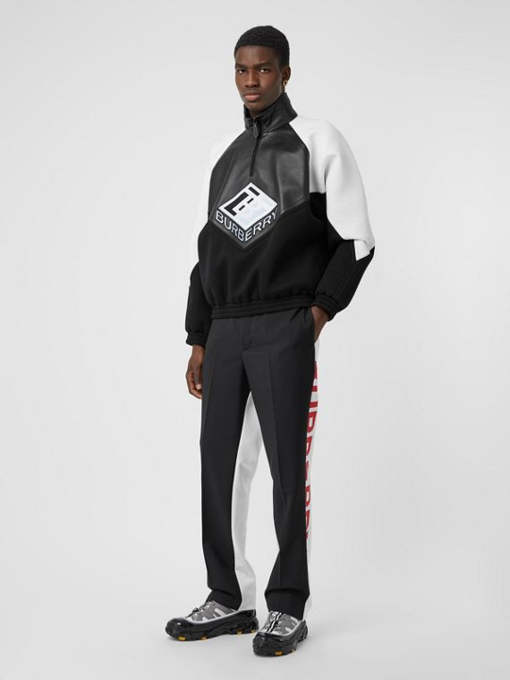Logo Graphic Lambskin Funnel Neck Track Top in Black