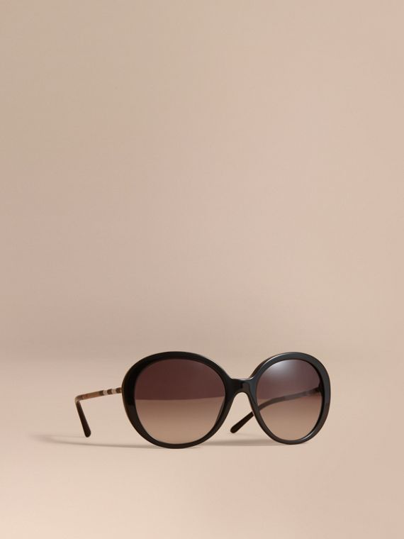 Check Detail Round Frame Sunglasses in Black - Women | Burberry Hong Kong