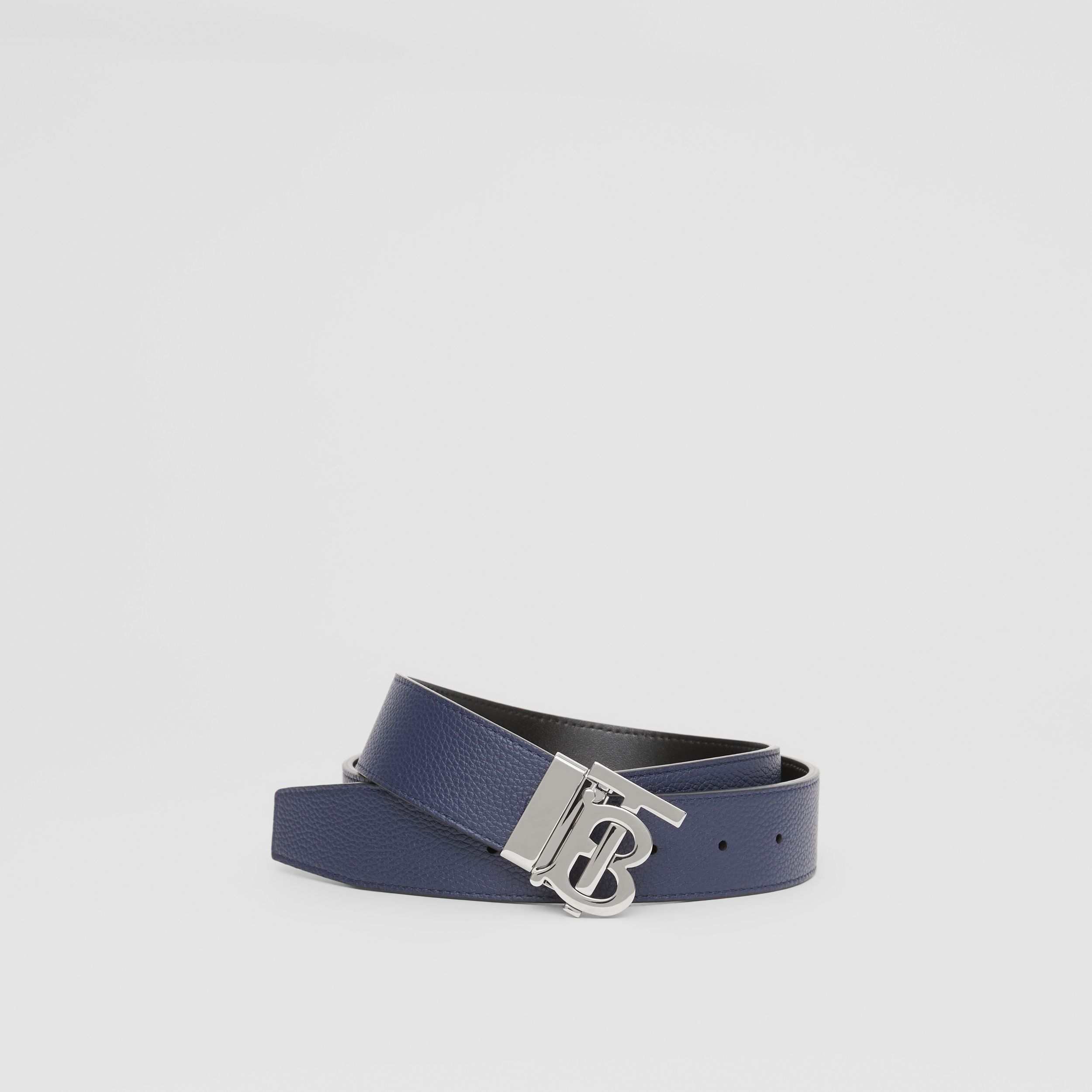Reversible Monogram Motif Leather Belt in Navy/black - Men | Burberry Australia - 1