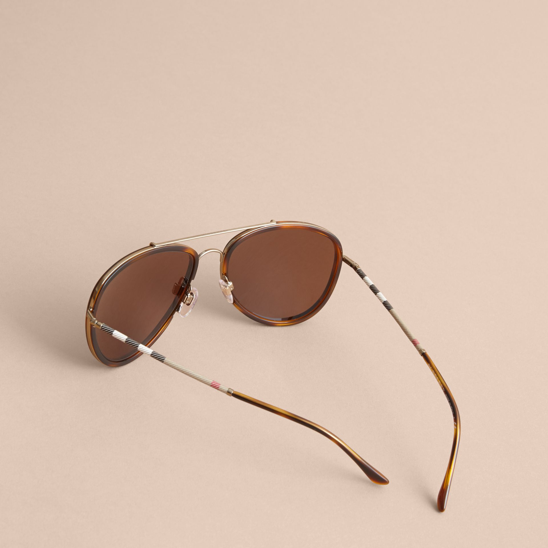 Check Detail Pilot Sunglasses in Tortoise Shell - Men | Burberry - gallery image 3