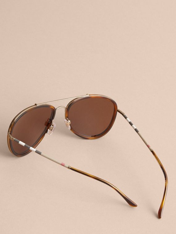 Check Detail Pilot Sunglasses in Tortoise Shell - Men | Burberry - cell image 3