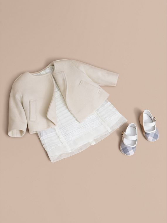 Collarless Cotton Cashmere Jacket in White