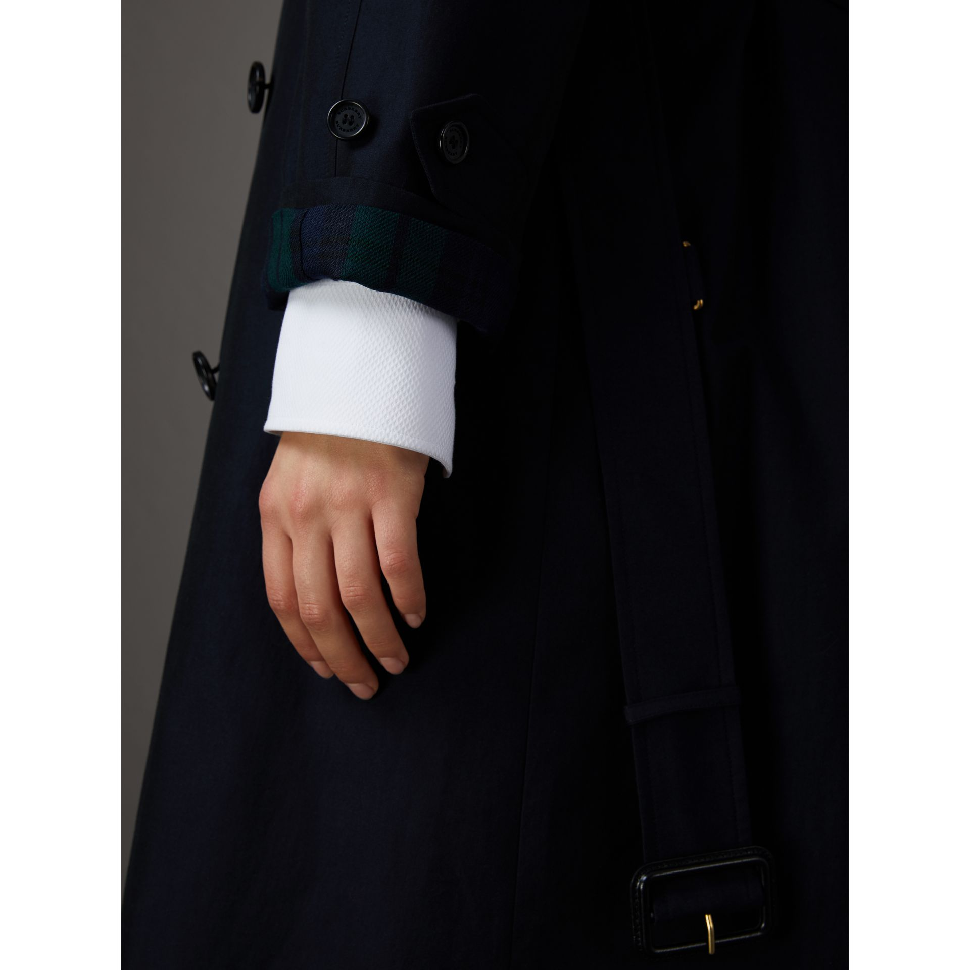 Tropical Gabardine Asymmetric Trench Coat in Blue Carbon - Women | Burberry Australia - gallery image 6