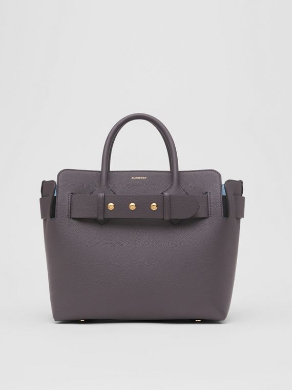 The Small Leather Triple Stud Belt Bag in Charcoal Grey