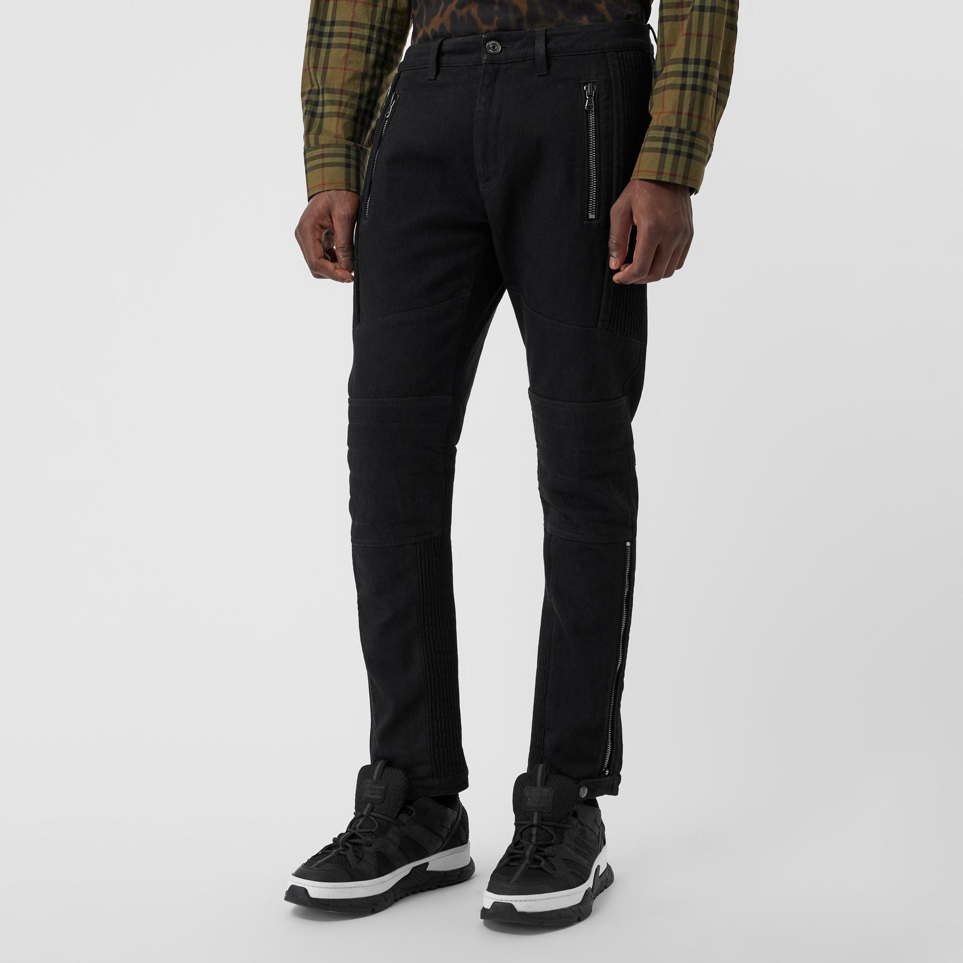 Slim Fit Zip Detail Biker Jeans in Black - Men   Burberry United States - gallery image 5
