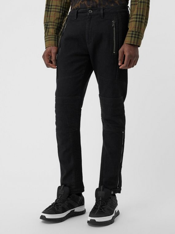 Slim Fit Zip Detail Biker Jeans in Black