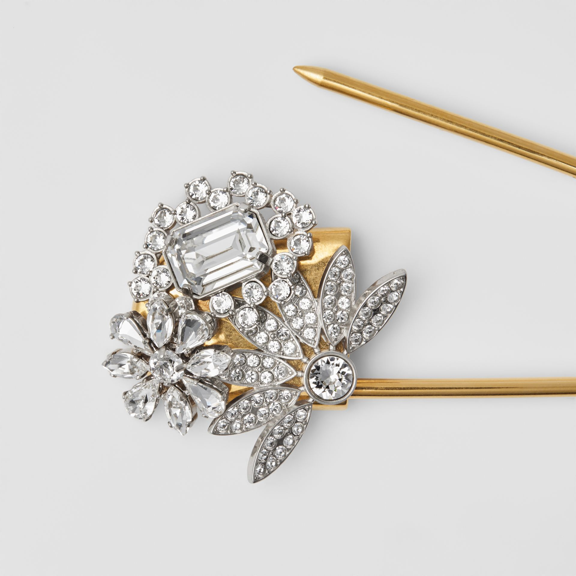 Crystal Daisy Gold-plated Kilt Pin in Natural Silver - Women | Burberry - gallery image 1