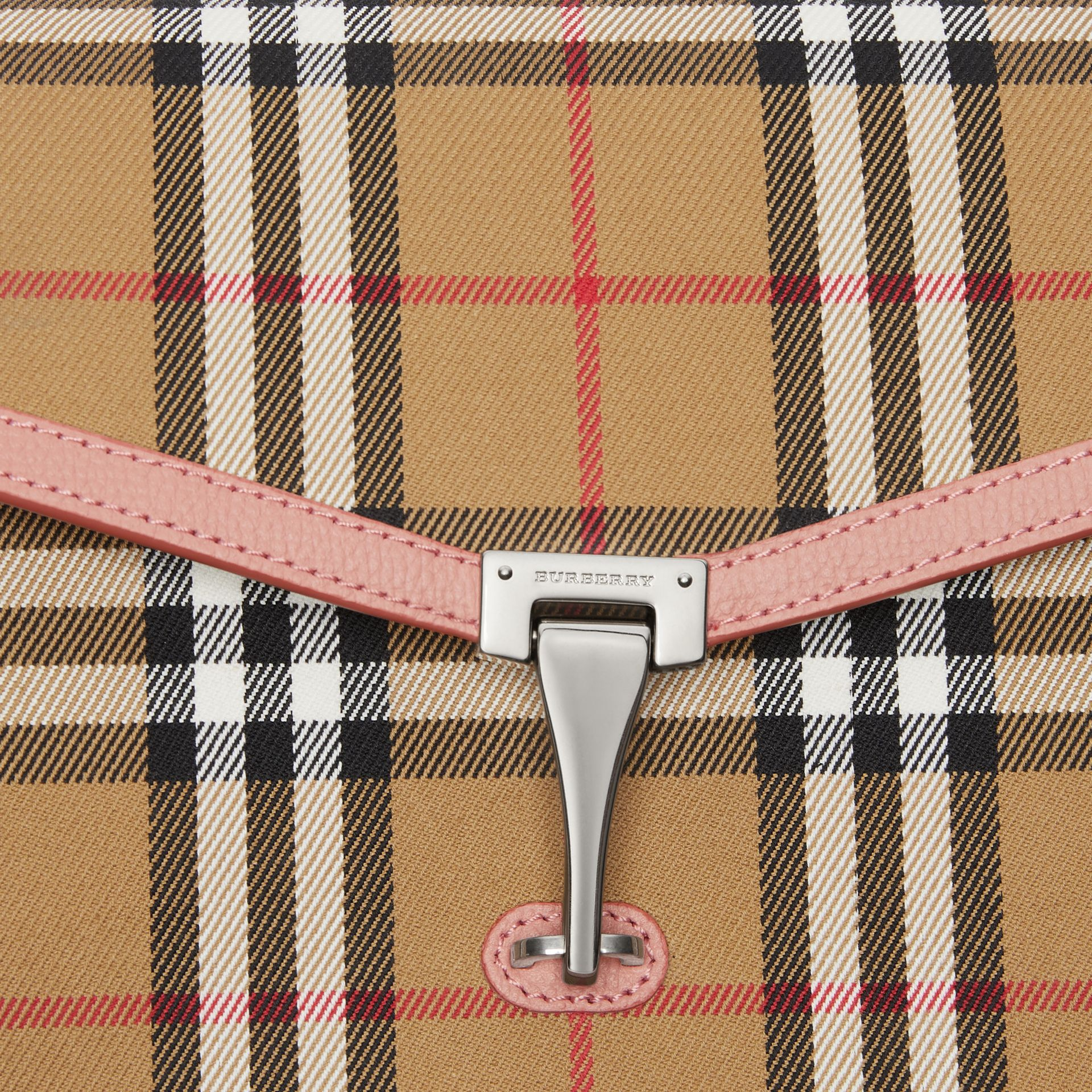 Small Vintage Check and Leather Crossbody Bag in Ash Rose - Women | Burberry - gallery image 1