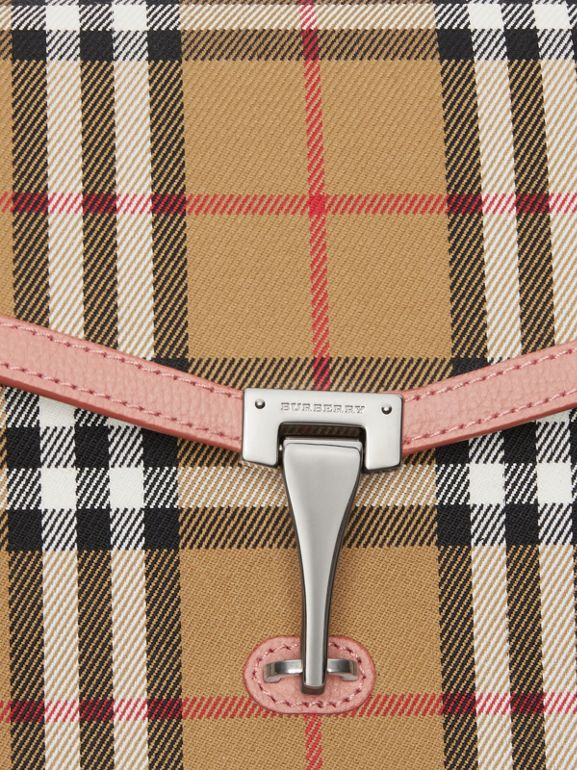 Small Vintage Check and Leather Crossbody Bag in Ash Rose - Women | Burberry - cell image 1
