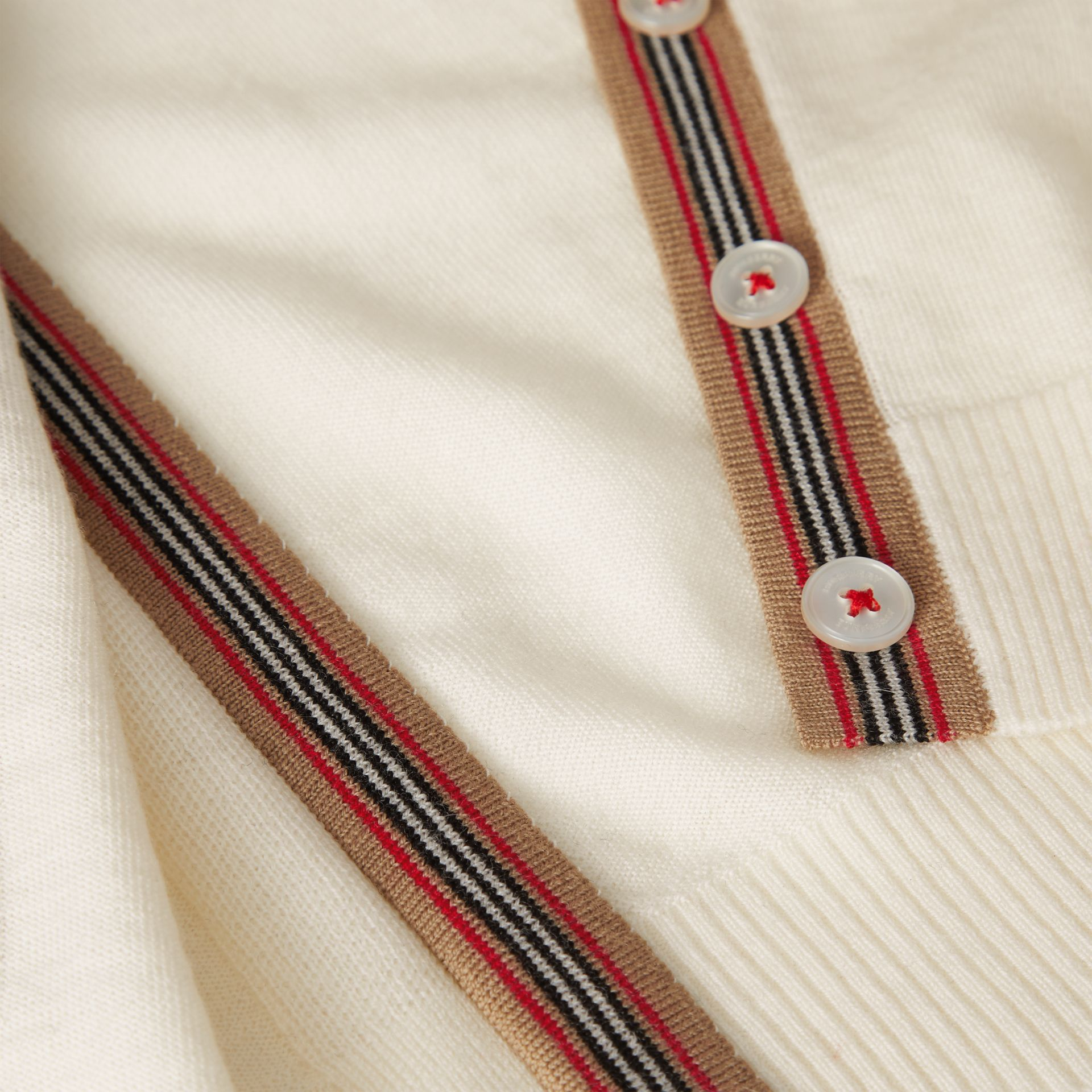 Icon Stripe Detail Merino Wool Cardigan in Ivory - Children | Burberry United Kingdom - gallery image 1