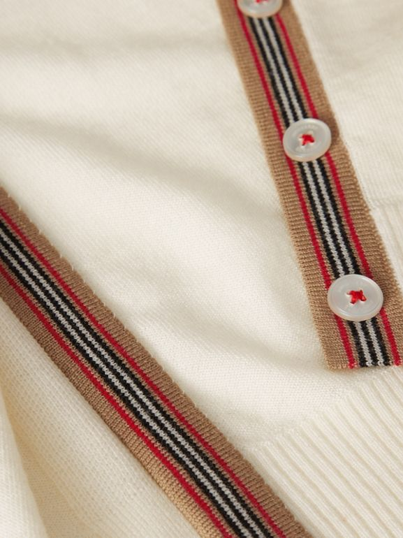 Icon Stripe Detail Merino Wool Cardigan in Ivory - Children | Burberry United Kingdom - cell image 1