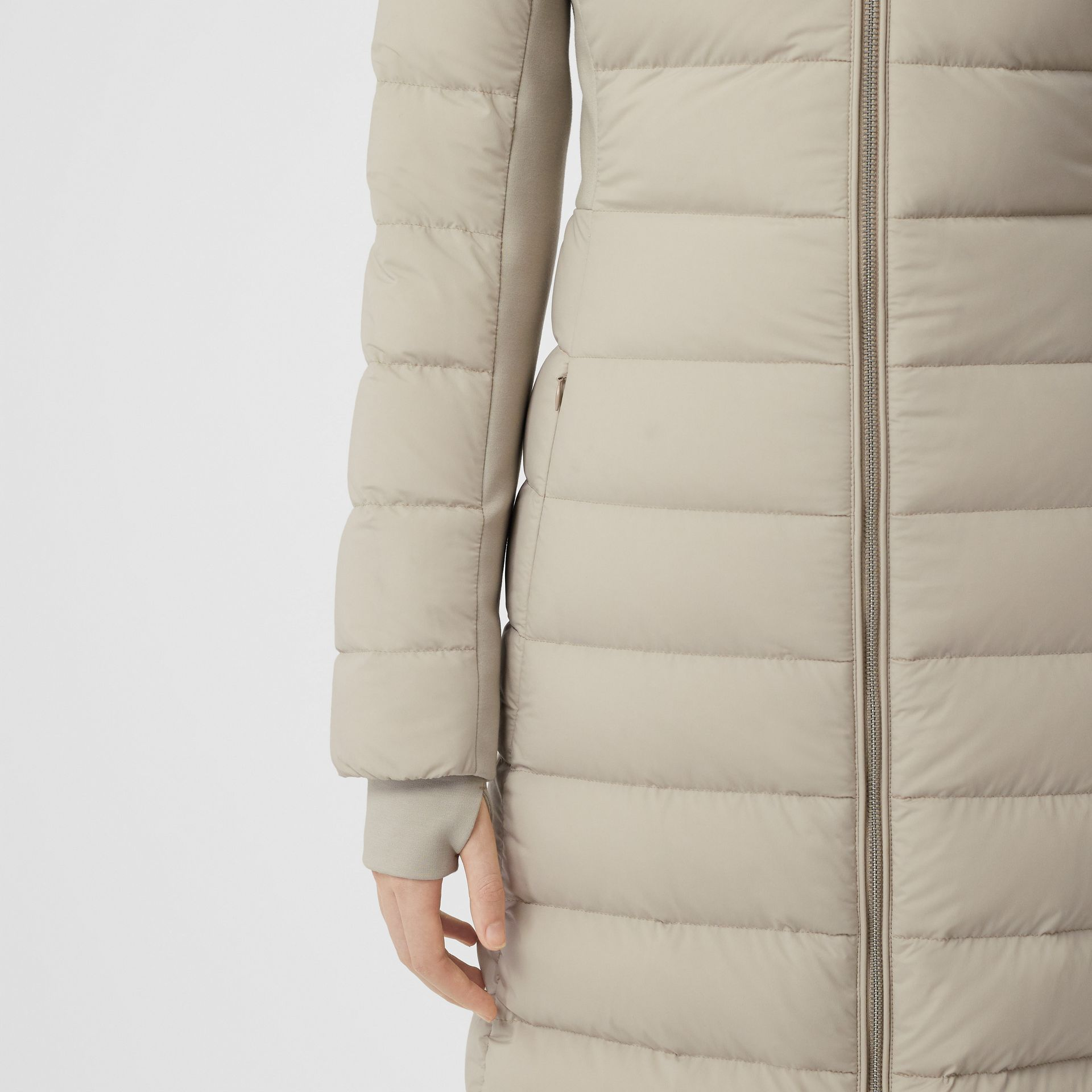Detachable Faux Fur Trim Hooded Puffer Coat in Neutral Olive - Women | Burberry - gallery image 1