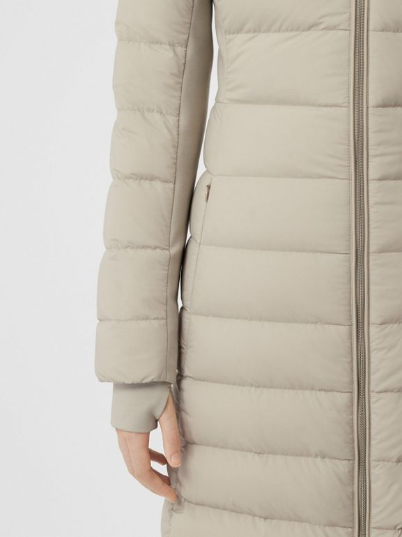 Detachable Faux Fur Trim Hooded Puffer Coat in Neutral Olive - Women | Burberry - cell image 1