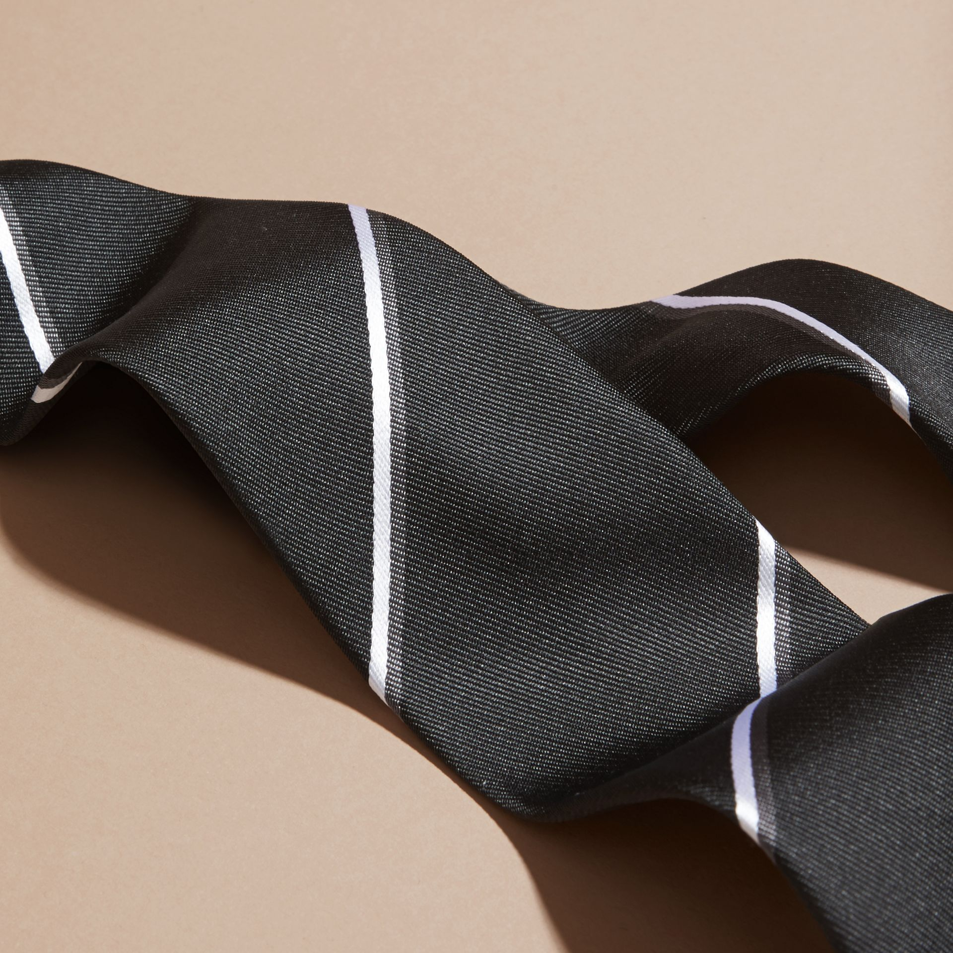 Black Slim Fit Striped Silk Tie Black - gallery image 2