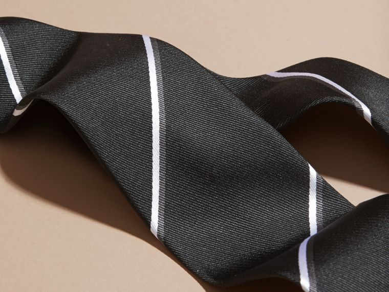 Black Slim Fit Striped Silk Tie Black - cell image 1