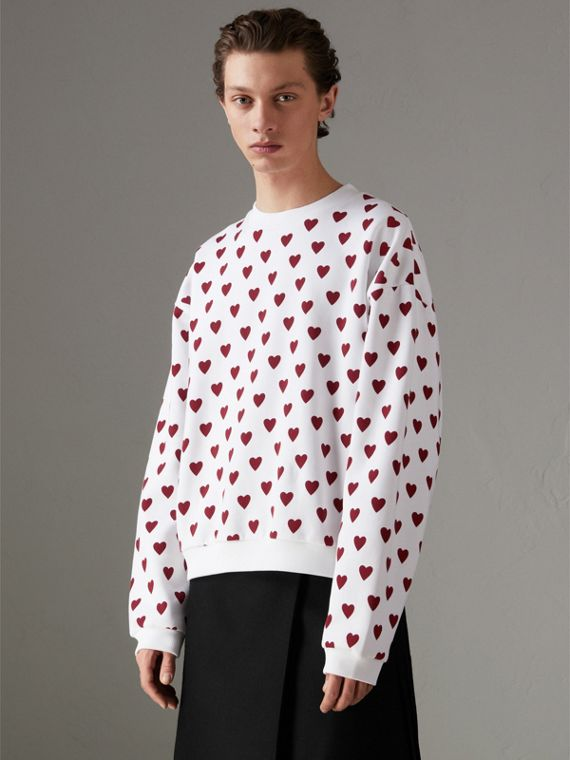 Heart Print Jersey Sweatshirt in Windsor Red