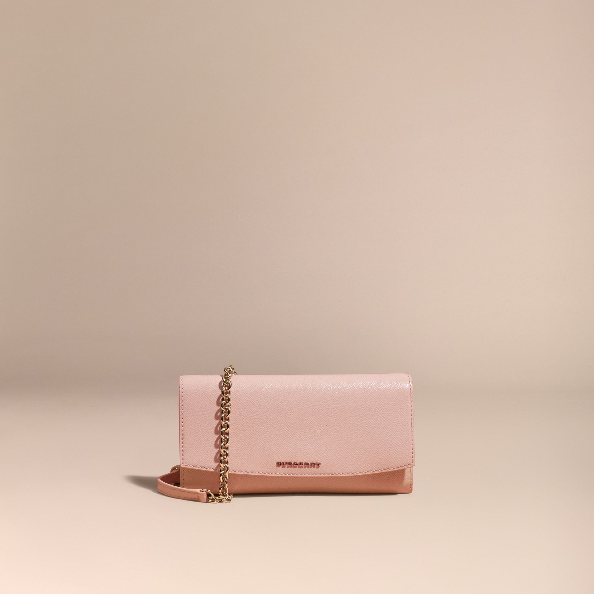 Leather Wallet with Chain Ash Rose - gallery image 6