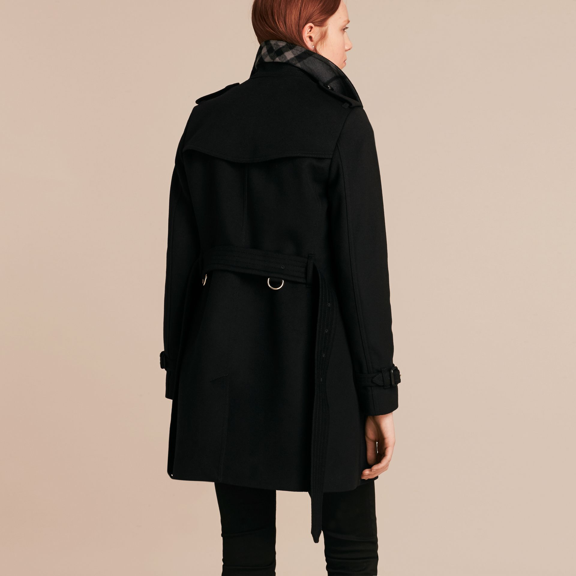 Wool Cashmere Trench Coat Black - gallery image 3