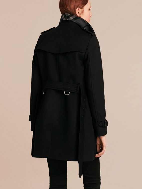 Black Wool Cashmere Trench Coat Black - cell image 2