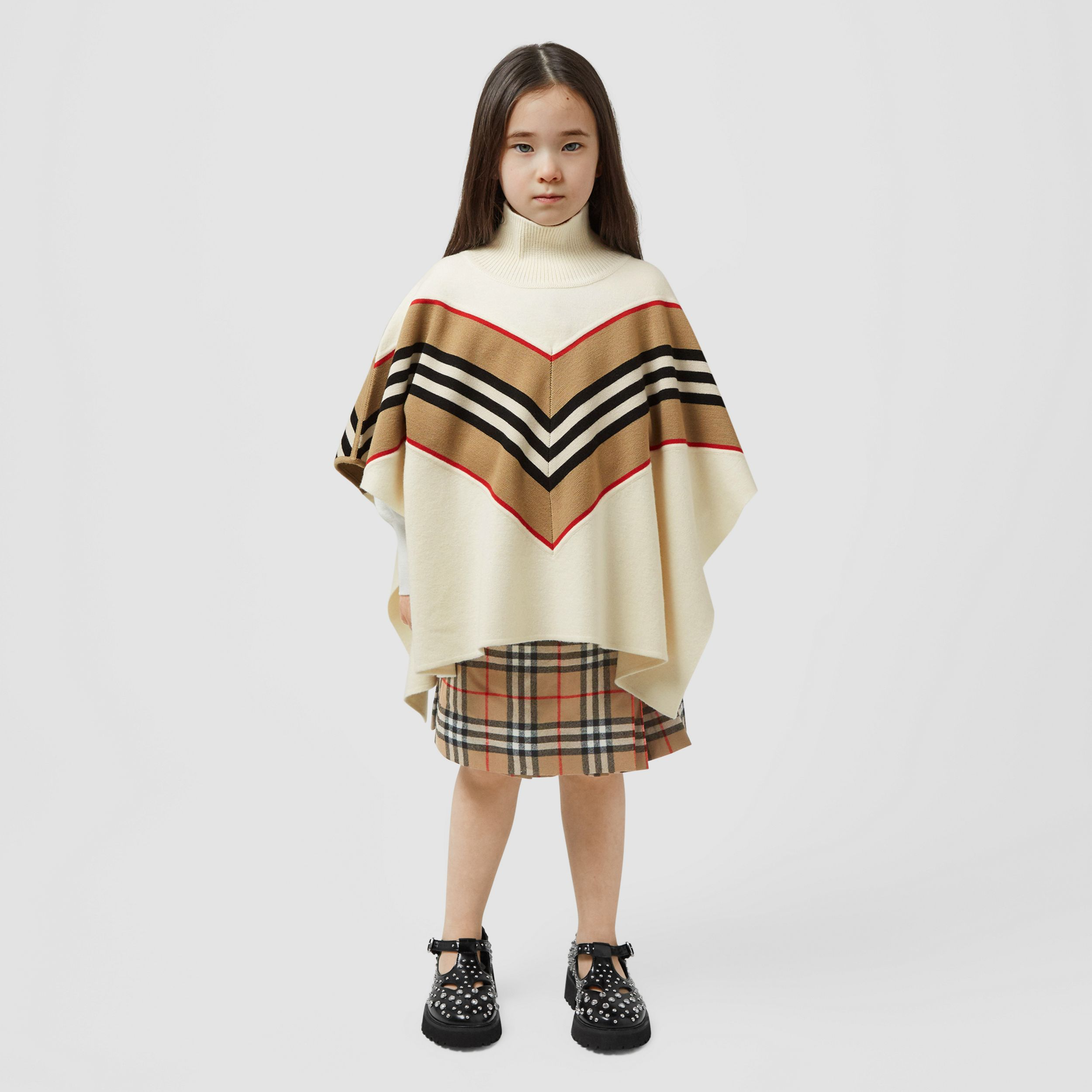 Icon Stripe Panel Wool Cashmere Blend Poncho | Burberry - 3