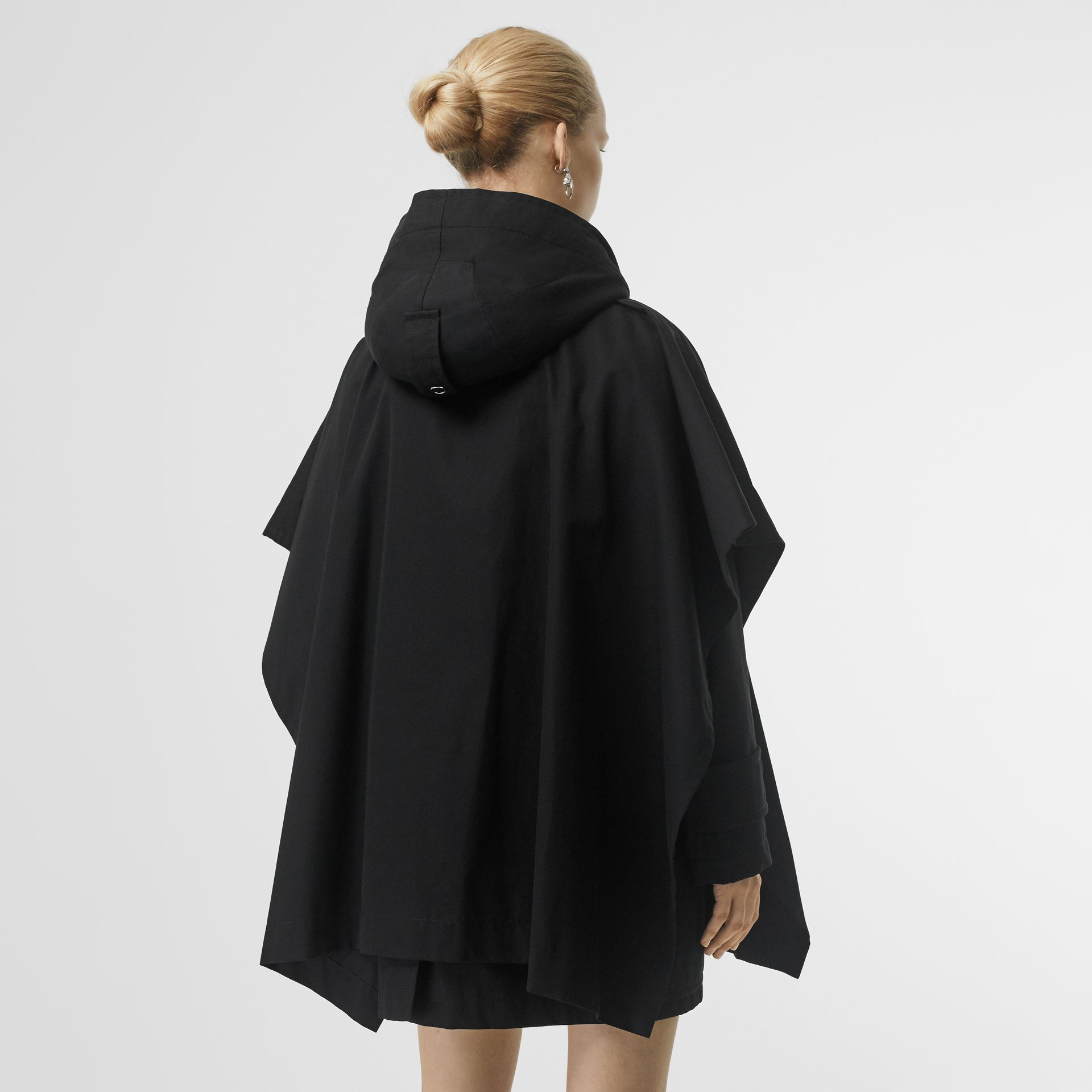 Triple Buckle Cotton Gabardine Cape Coat in Black - Women | Burberry - gallery image 2
