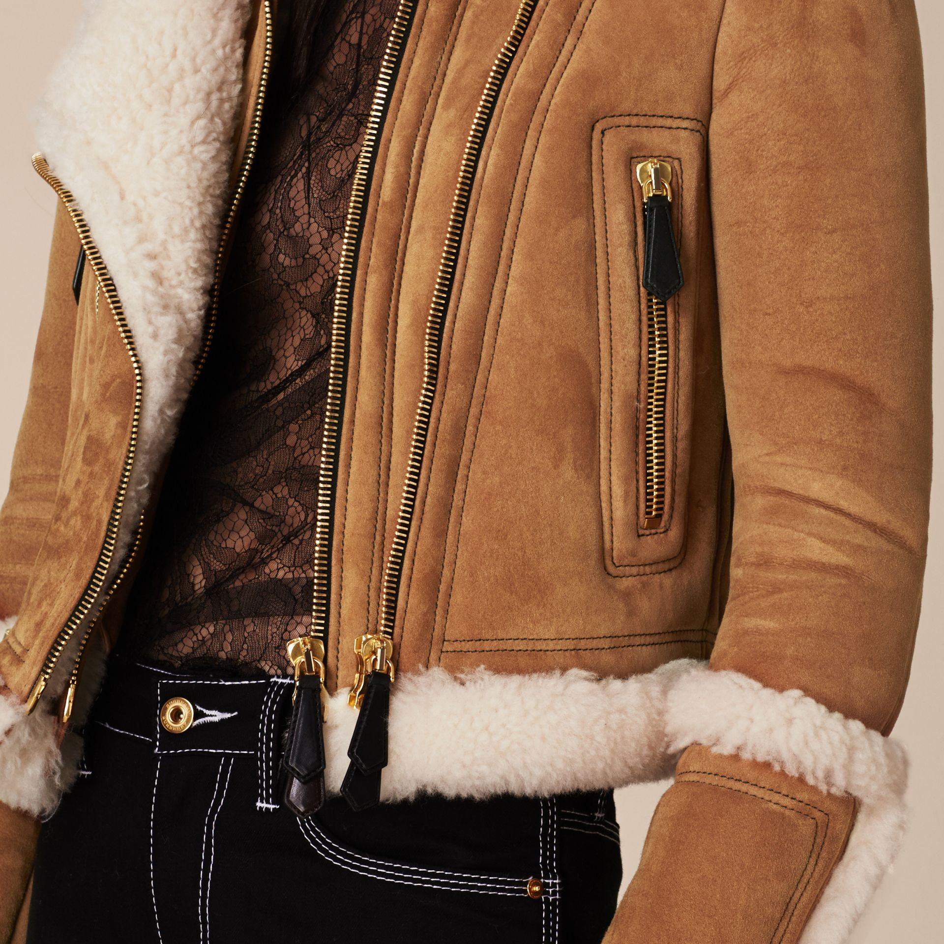 Tan/white Shearling Biker Jacket - gallery image 7