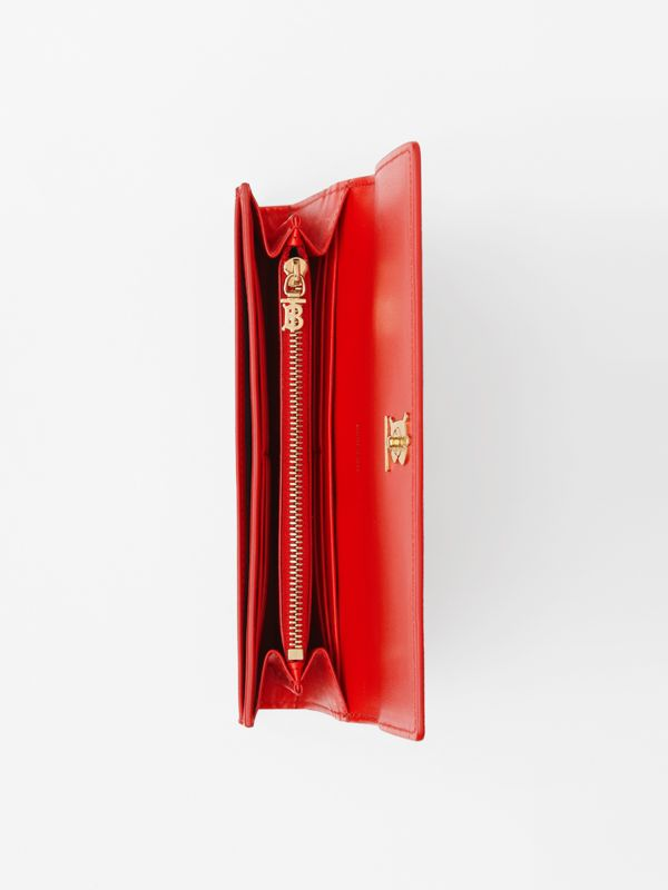 Monogram Motif Grainy Leather Continental Wallet in Bright Red - Women | Burberry - cell image 3