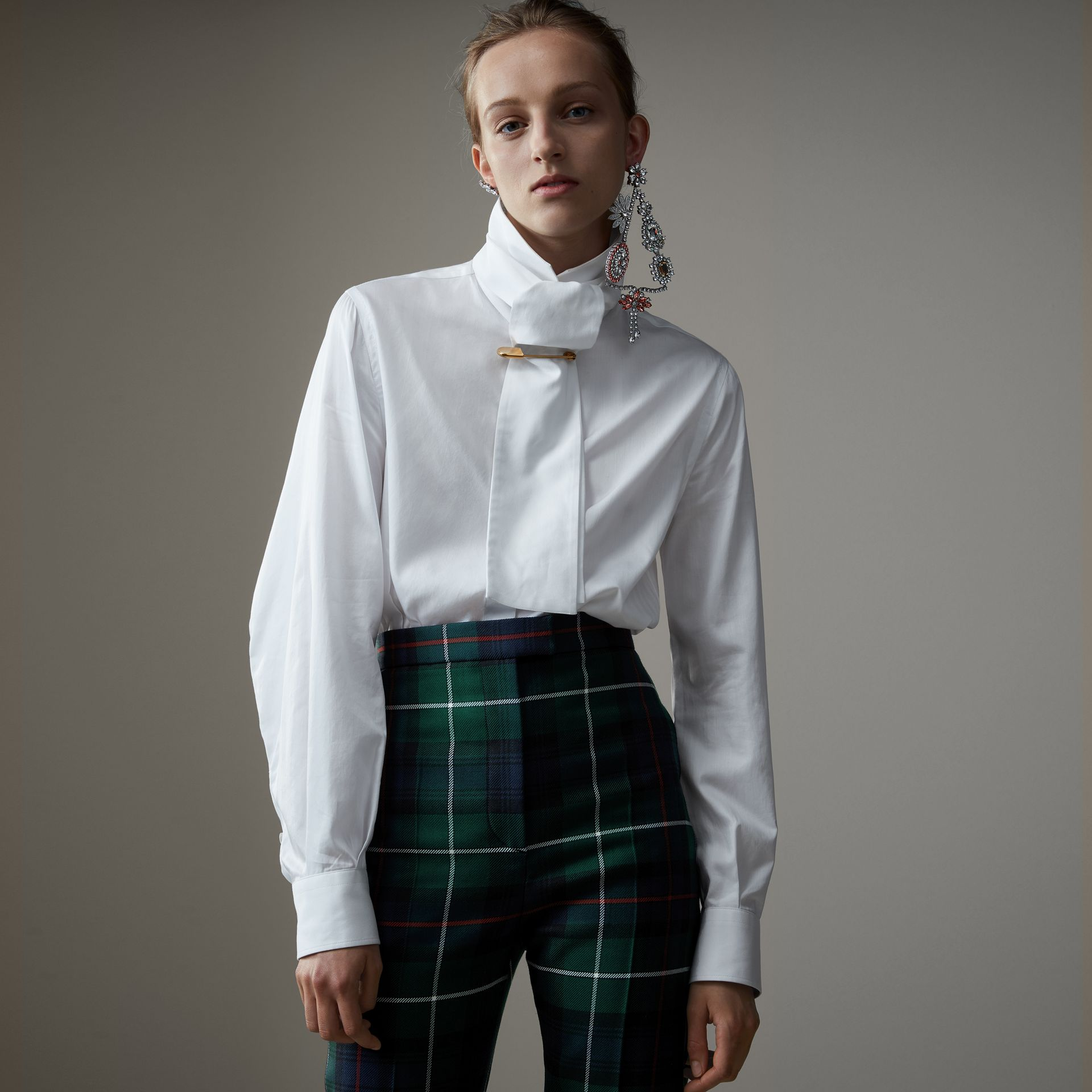 Herringbone Cotton Tie-neck Riding Shirt in White - Women | Burberry - gallery image 0
