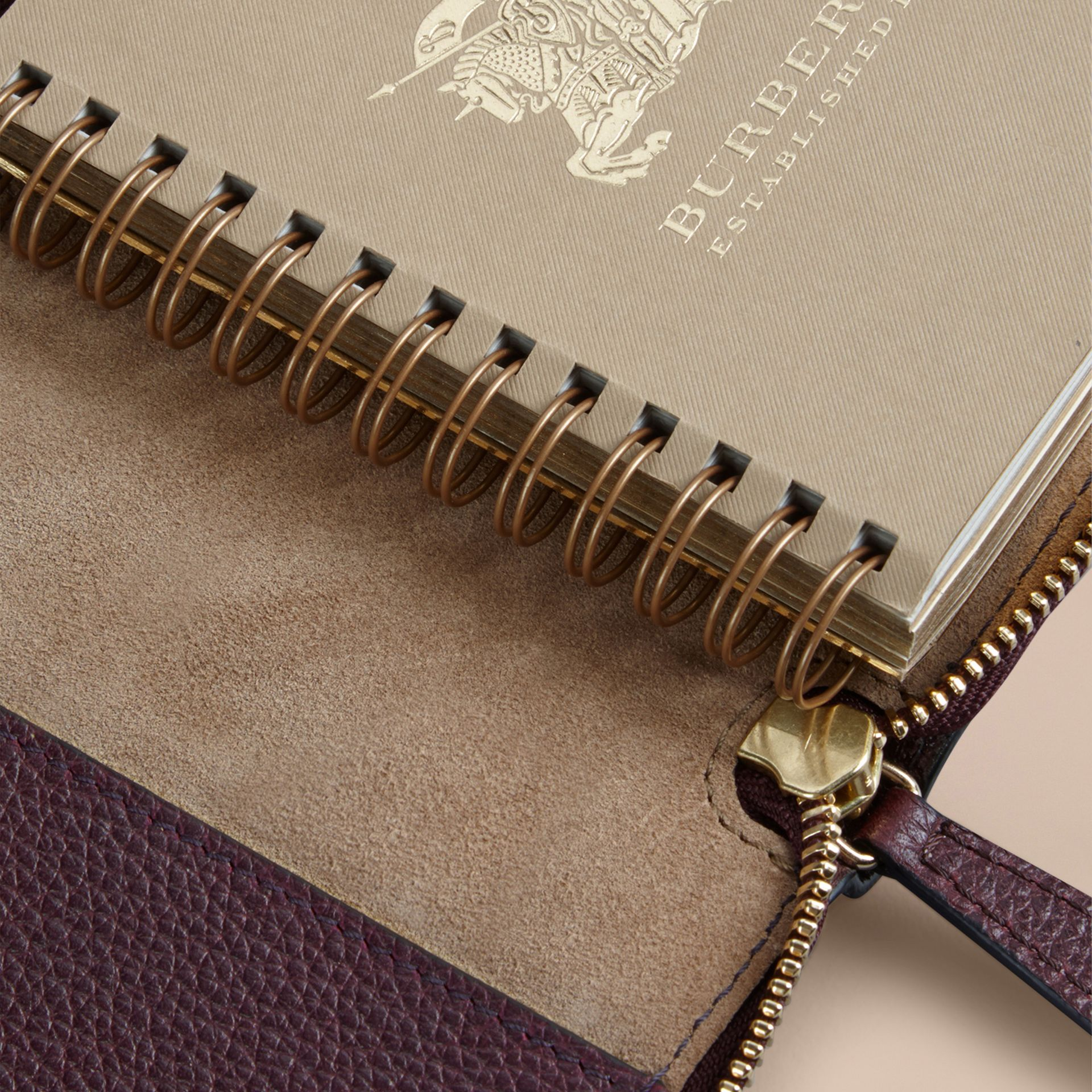 Ziparound Grainy Leather Mini Notebook in Dark Amethyst | Burberry Canada - gallery image 5