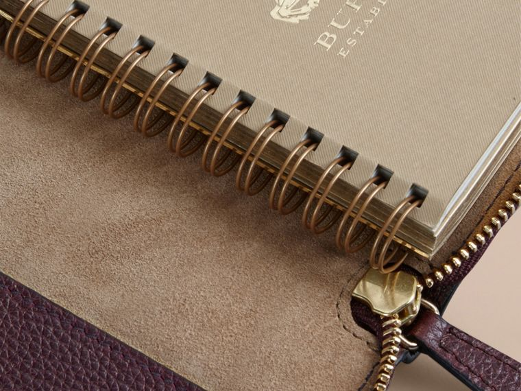 Ziparound Grainy Leather Mini Notebook in Dark Amethyst | Burberry - cell image 4