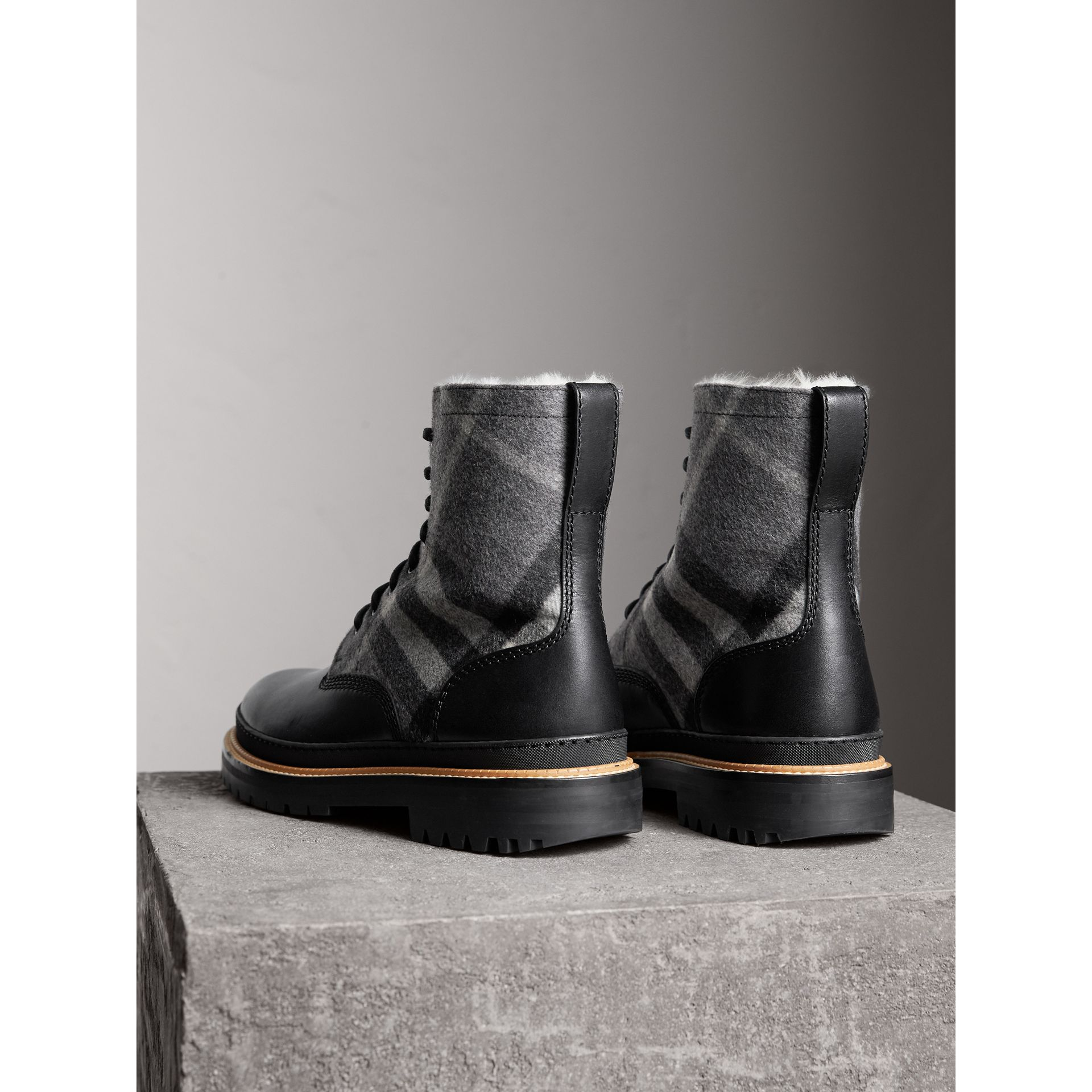 Shearling-lined Leather and Check Boots in Black - Men | Burberry United States - gallery image 3