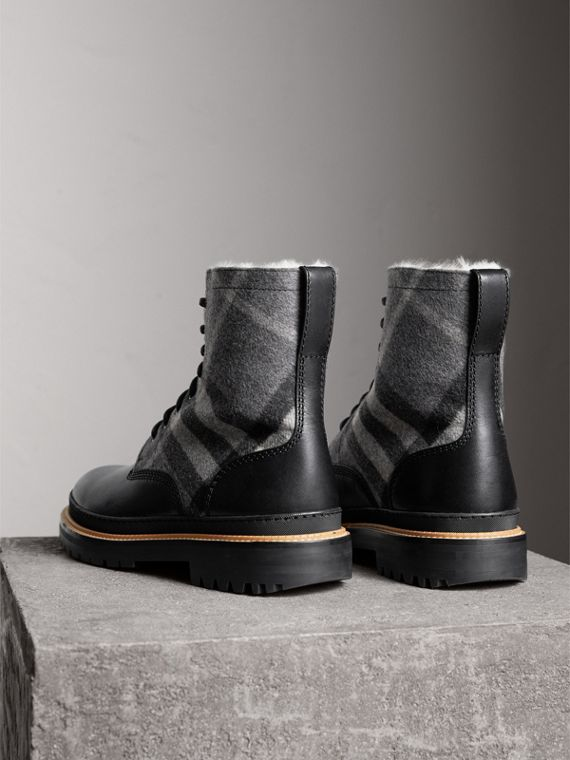Shearling-lined Leather and Check Boots in Black - Men | Burberry - cell image 2