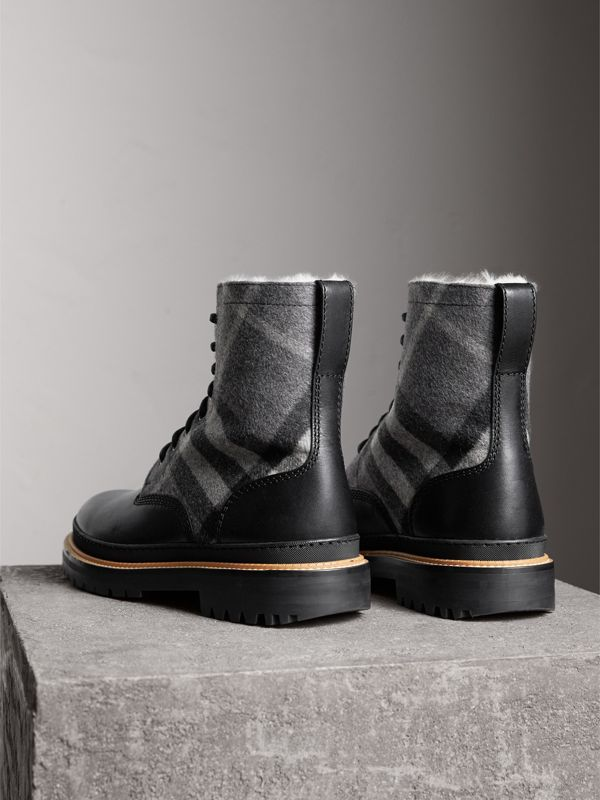 Shearling-lined Leather and Check Boots in Black - Men | Burberry Singapore - cell image 3