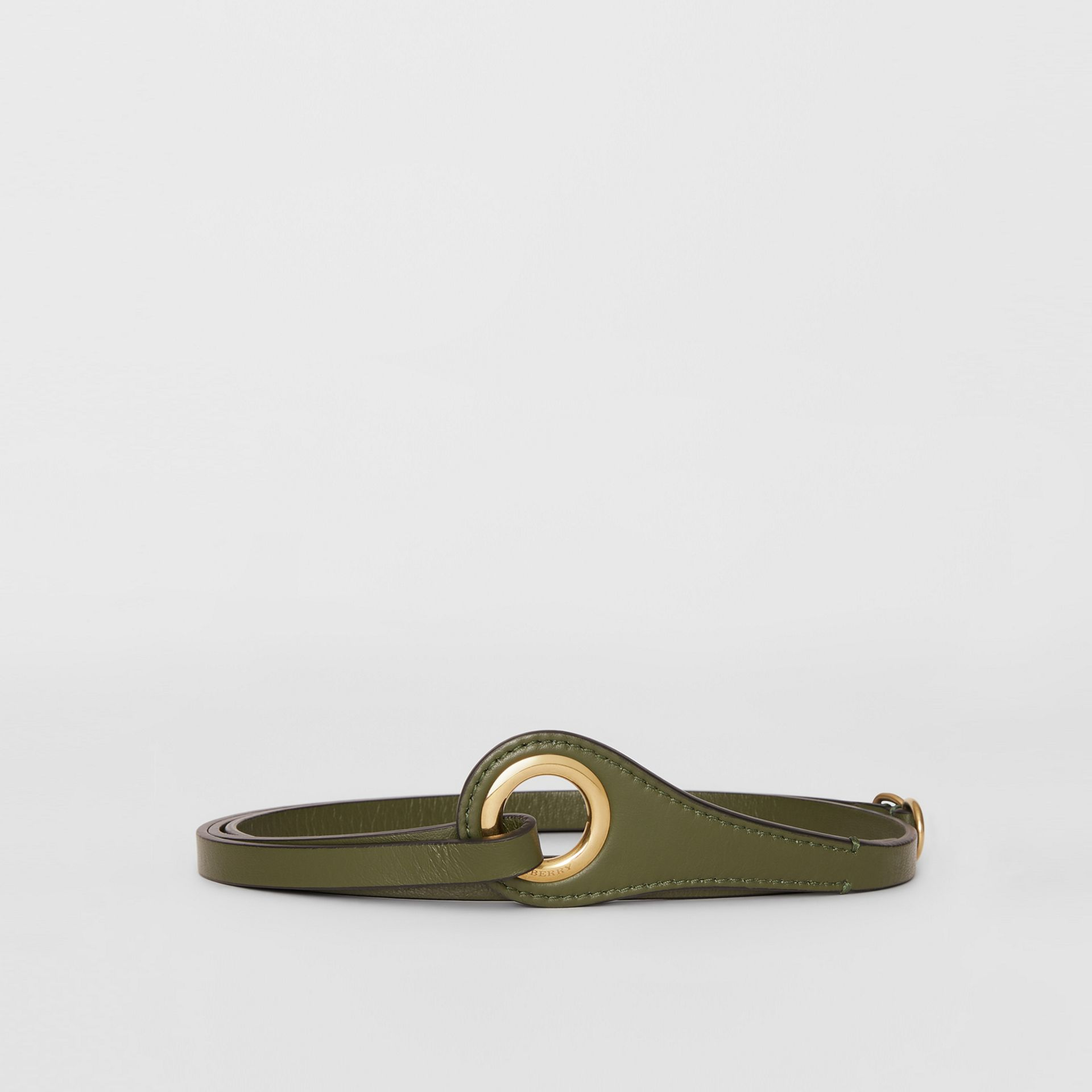 Grommet Detail Lambskin Belt in Dark Olive - Women | Burberry - gallery image 3