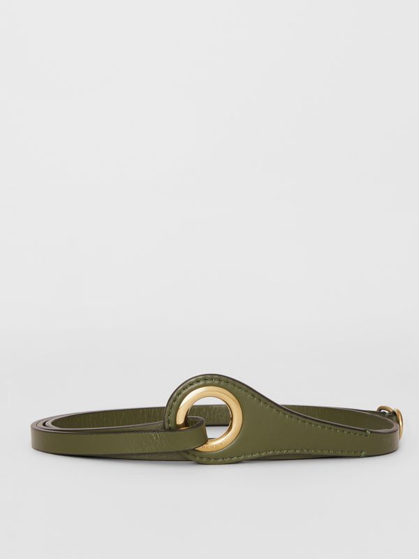 Grommet Detail Lambskin Belt in Dark Olive - Women | Burberry - cell image 3