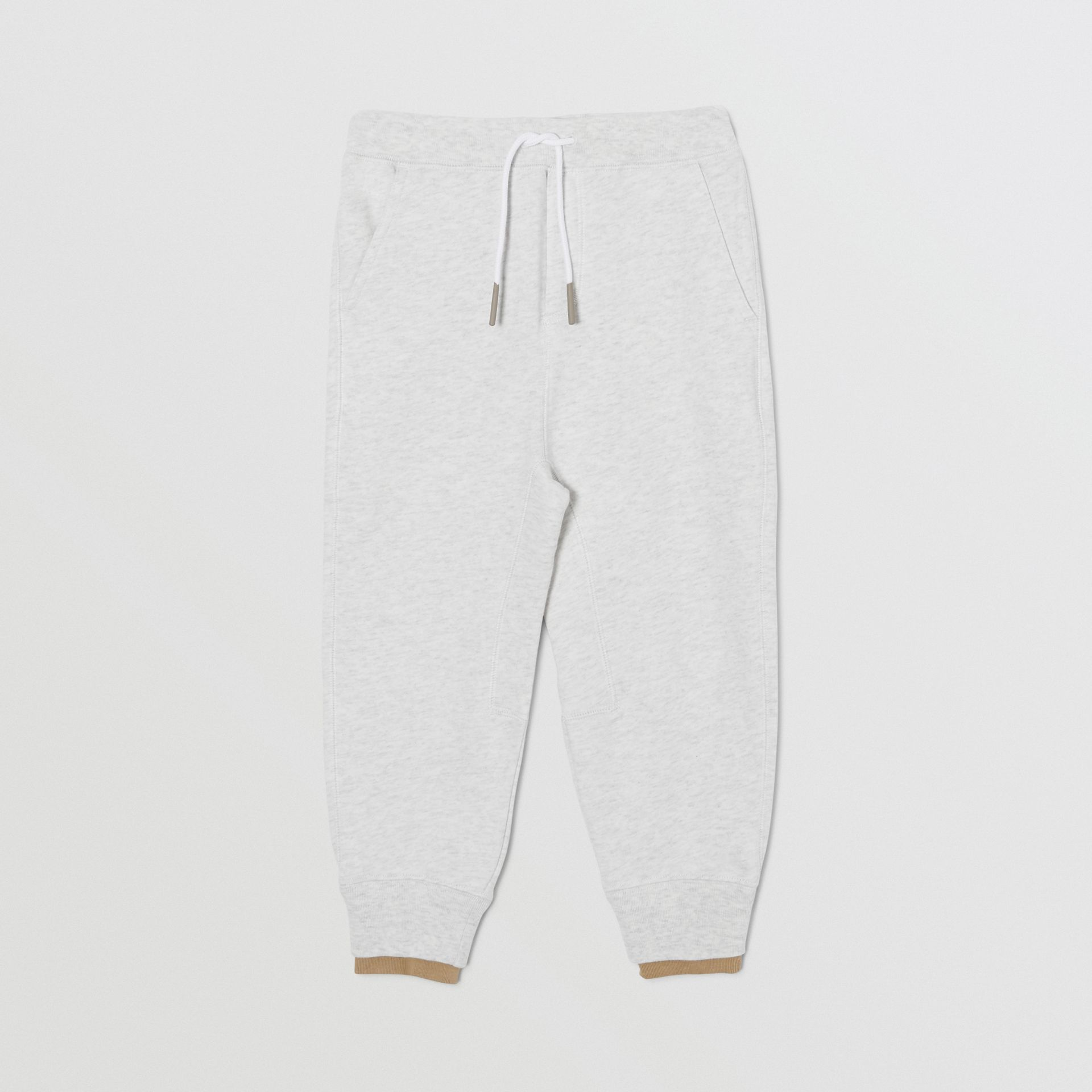 Logo Detail Cotton Trackpants in White Melange | Burberry - gallery image 0