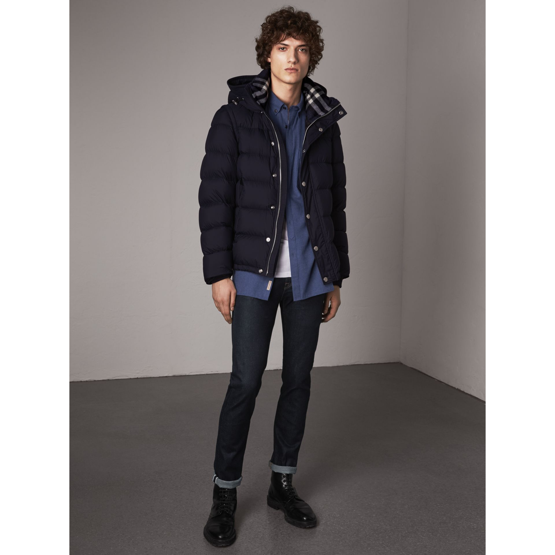 Detachable-sleeve Down-filled Puffer Jacket in Navy - Men | Burberry Australia - gallery image 0