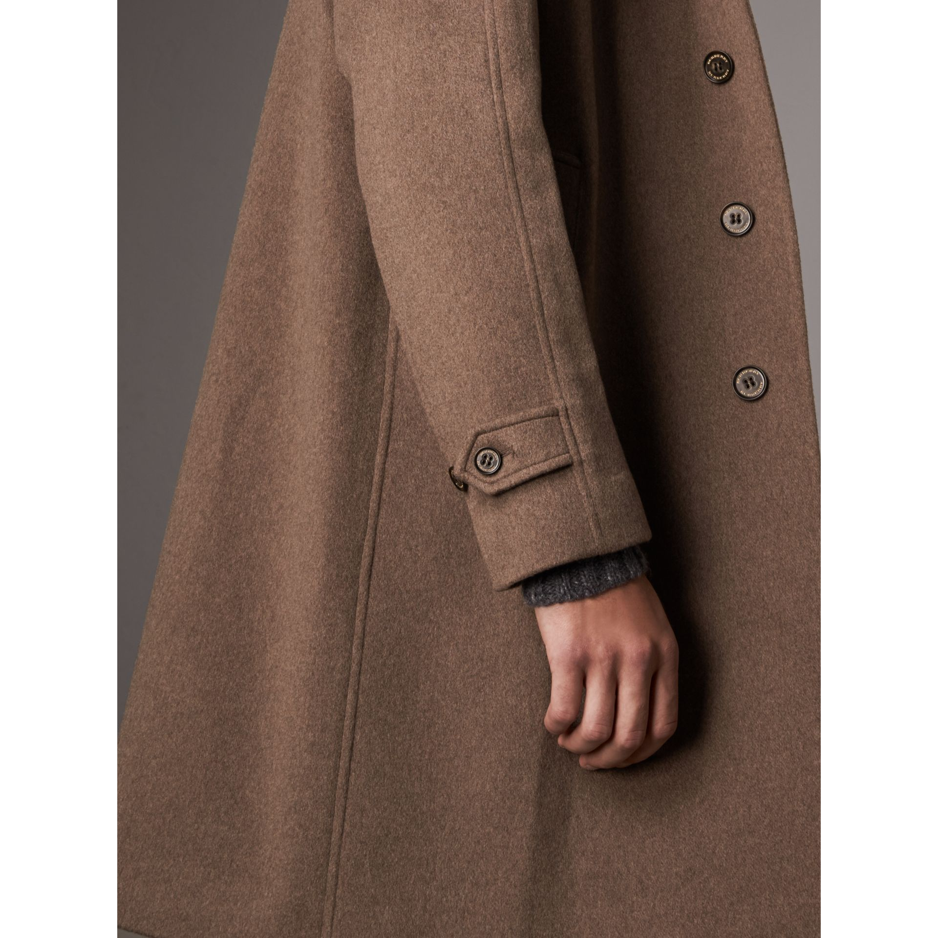 Cashmere Car Coat in Deep Taupe Melange - Men | Burberry - gallery image 4