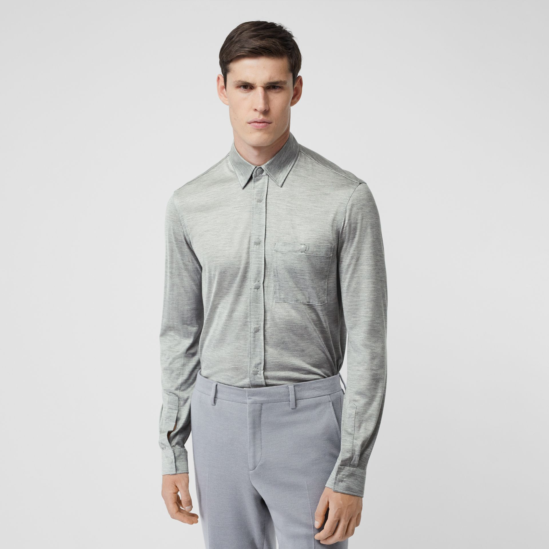 Classic Fit Silk Jersey Shirt in Light Pebble Grey | Burberry - gallery image 0