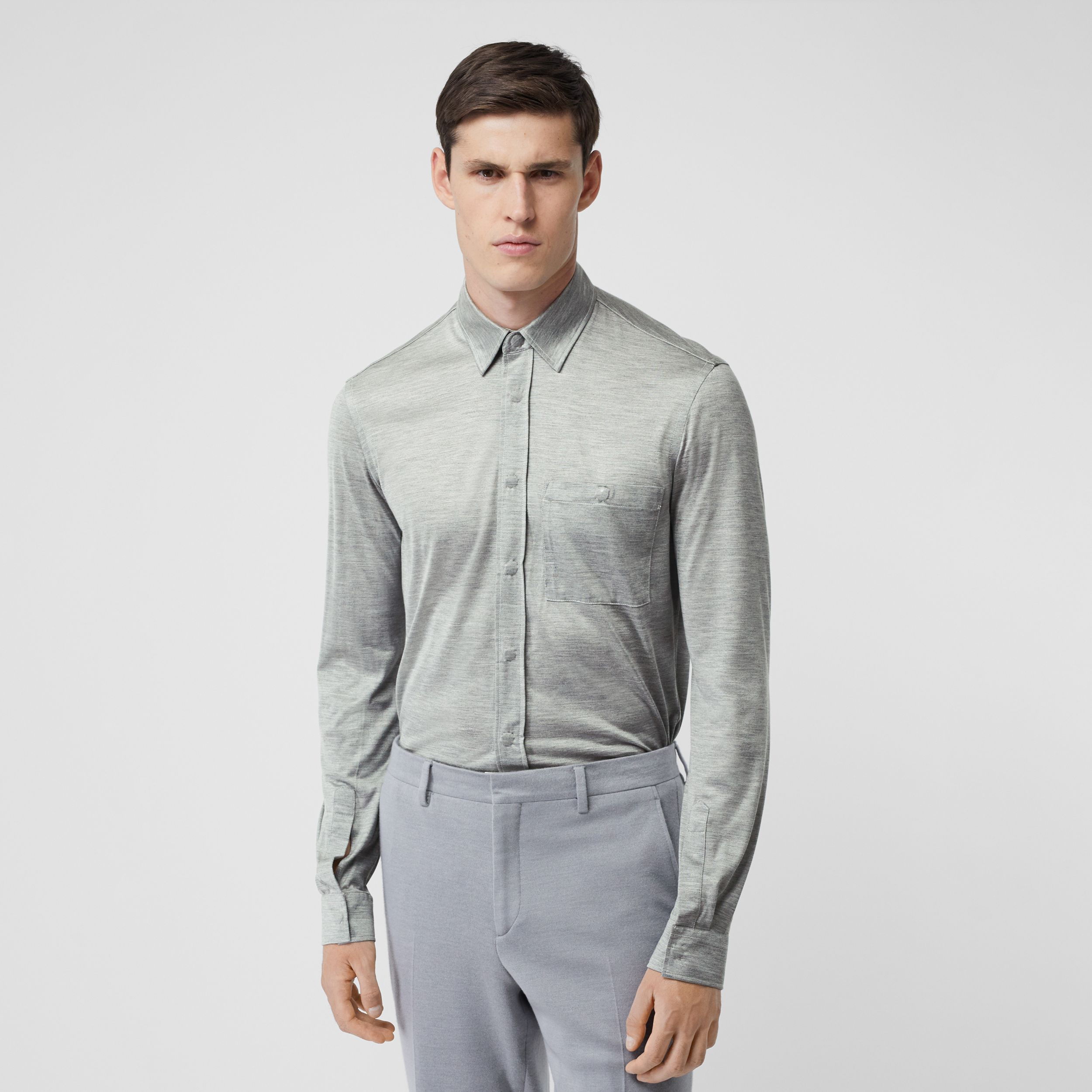 Classic Fit Silk Jersey Shirt in Light Pebble Grey - Men | Burberry - 1