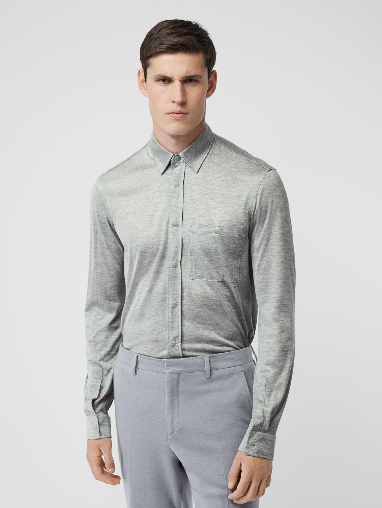 Classic Fit Silk Jersey Shirt in Light Pebble Grey