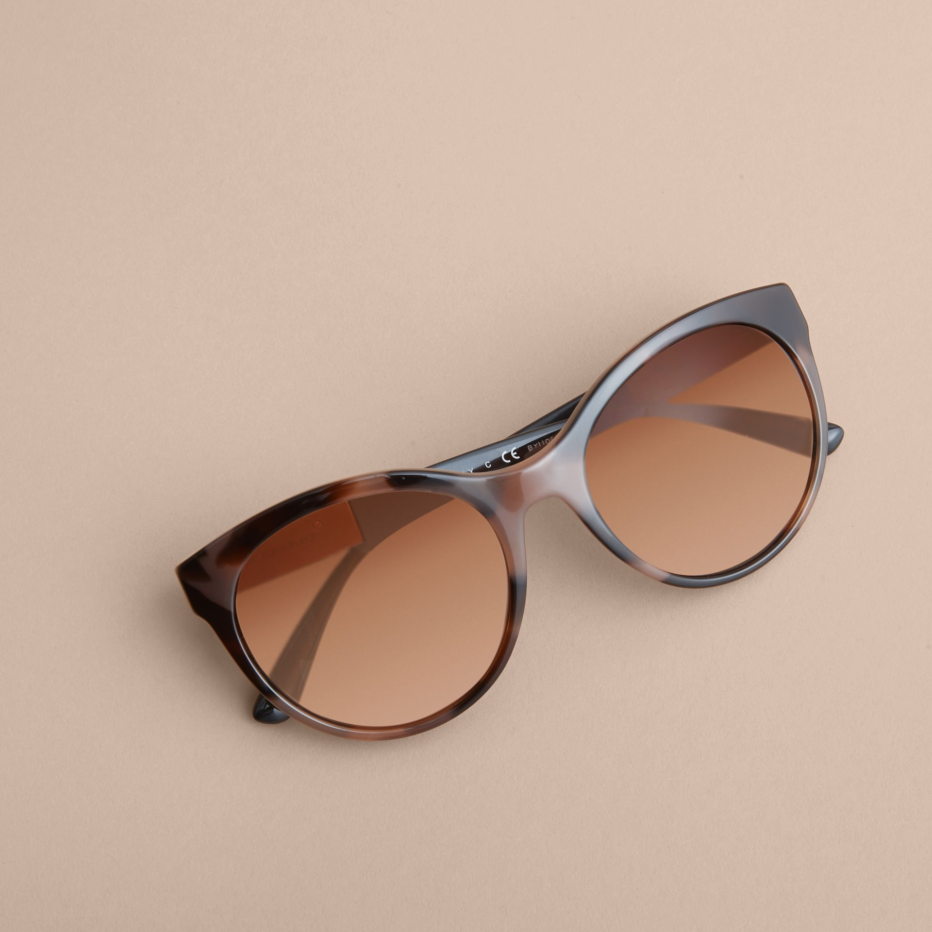 Check Detail Round Frame Sunglasses in Amber - Women | Burberry Singapore - gallery image 3