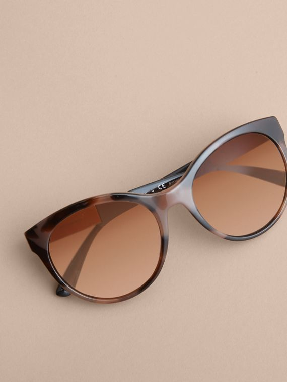 Check Detail Round Frame Sunglasses in Amber - Women | Burberry Singapore - cell image 2