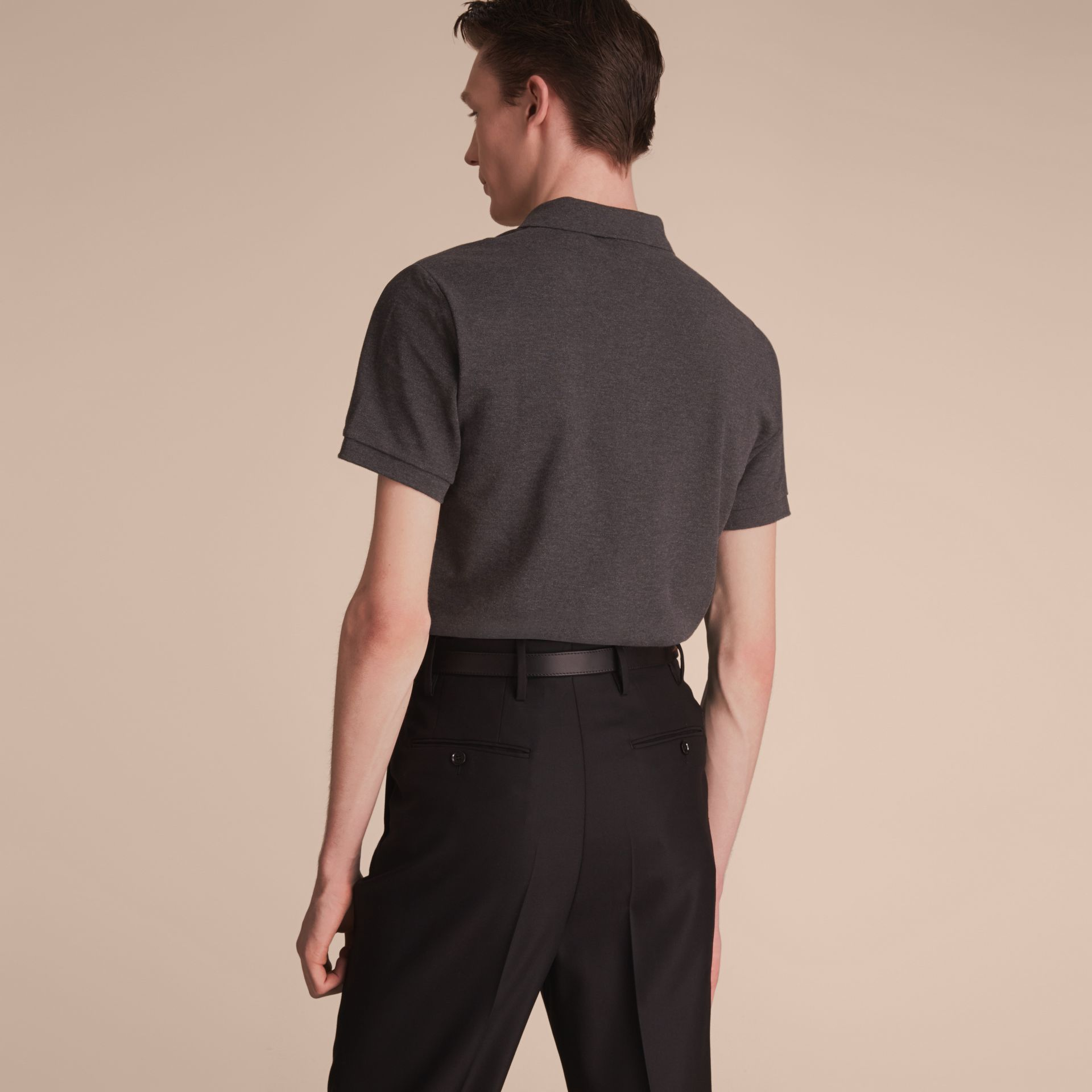 Check Placket Cotton Piqué Polo Shirt in Dark Charcoal Melange - gallery image 3