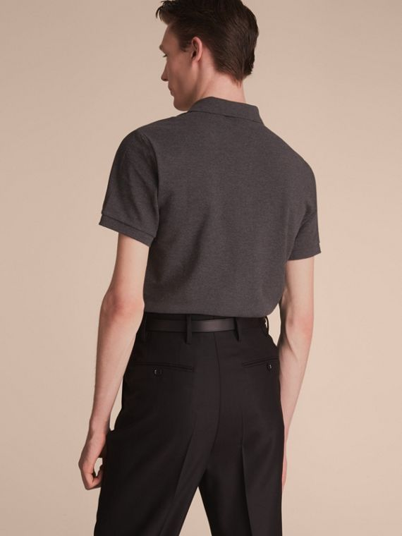 Check Placket Cotton Piqué Polo Shirt in Dark Charcoal Melange - cell image 2