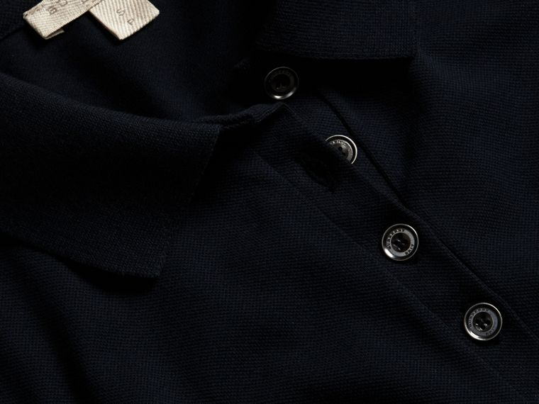 Navy Check Trim Stretch Cotton Piqué Polo Shirt Navy - cell image 1