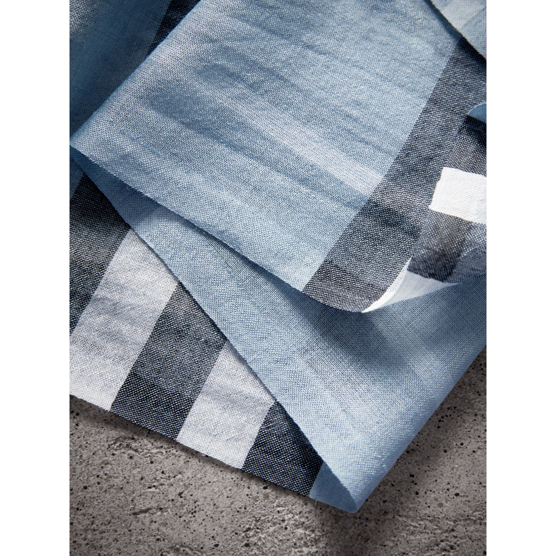 Lightweight Check Wool and Silk Scarf in Dusty Blue - Women | Burberry Canada - gallery image 1